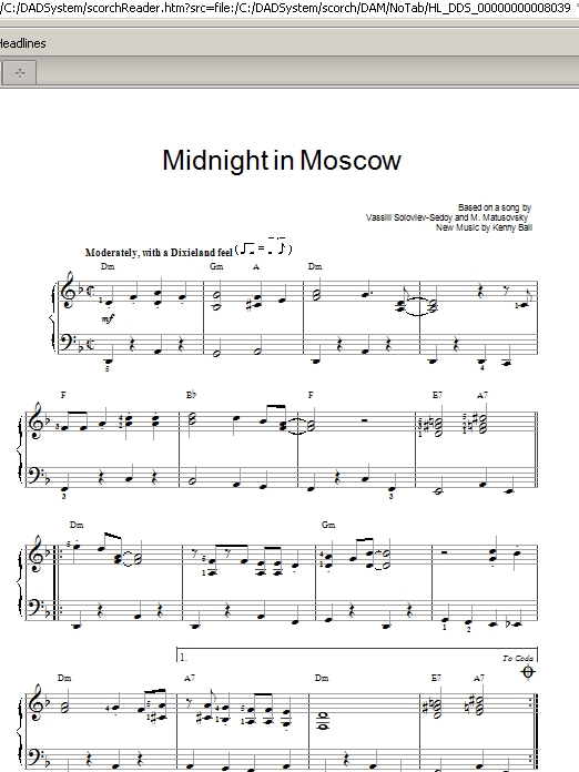 Kenny Ball Midnight In Moscow sheet music notes and chords. Download Printable PDF.