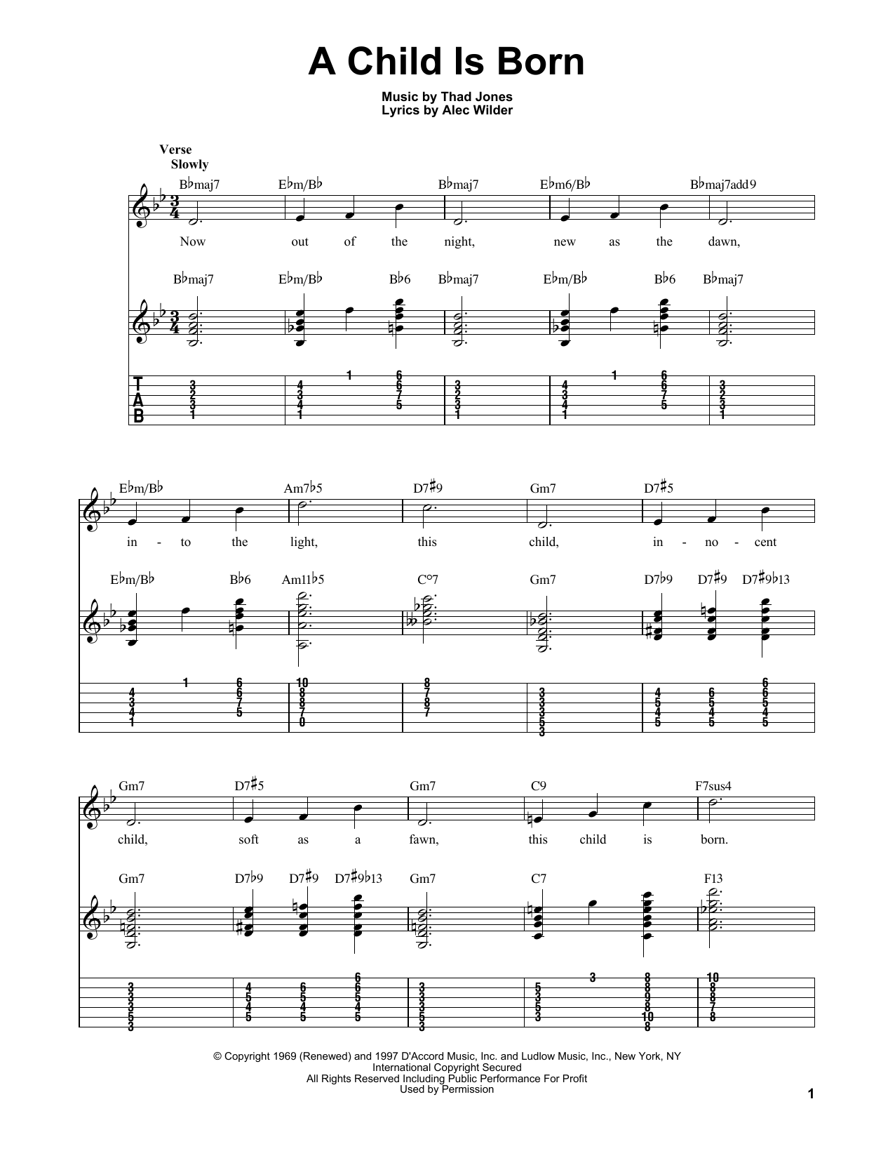 Kenny Burrell A Child Is Born sheet music notes and chords. Download Printable PDF.