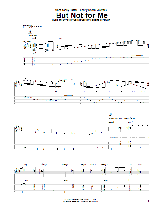 Kenny Burrell But Not For Me sheet music notes and chords. Download Printable PDF.