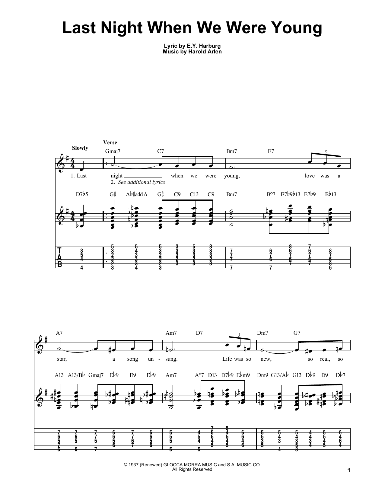 Kenny Burrell Last Night When We Were Young sheet music notes and chords. Download Printable PDF.