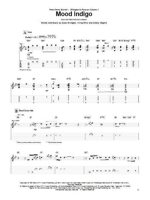 Kenny Burrell Mood Indigo sheet music notes and chords. Download Printable PDF.