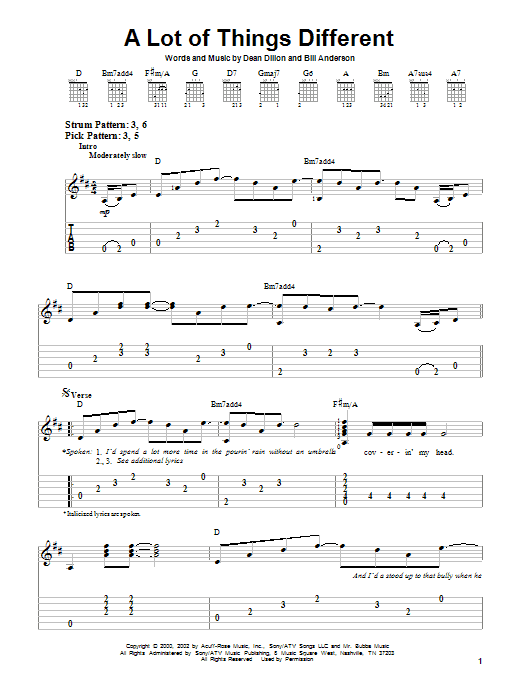 Kenny Chesney A Lot Of Things Different sheet music notes and chords. Download Printable PDF.