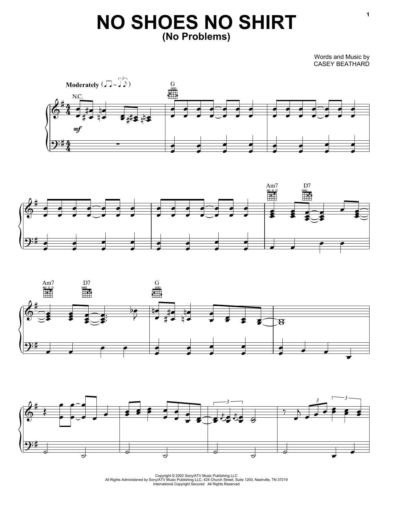 Kenny Chesney No Shoes No Shirt (No Problems) sheet music notes and chords. Download Printable PDF.