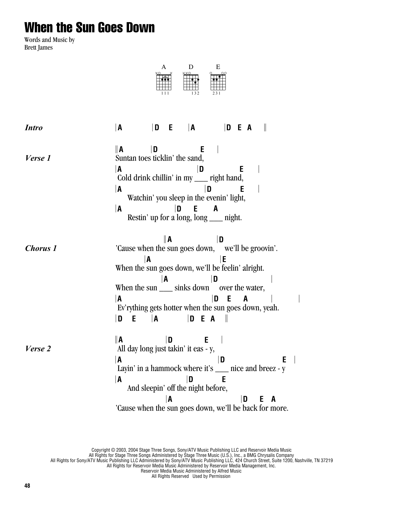 Kenny Chesney & Uncle Kracker When The Sun Goes Down sheet music notes and chords