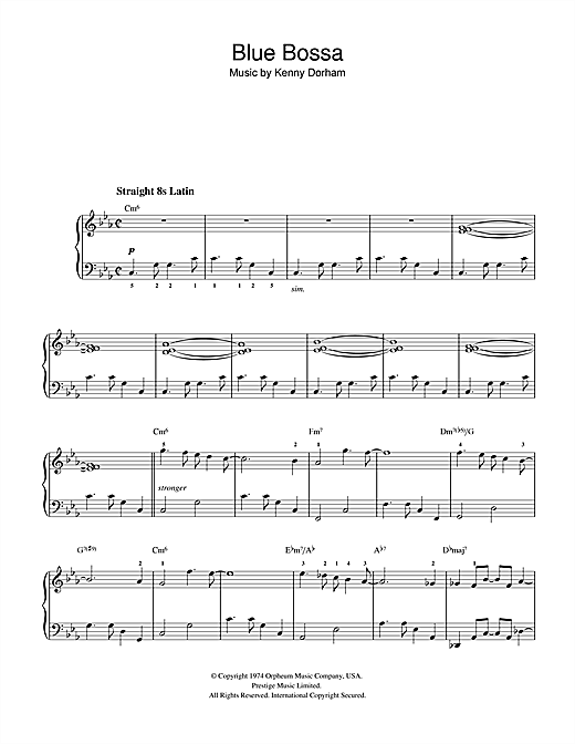 Kenny Dorham 'Blue Bossa' Sheet Music Notes, Chords | Download Printable  Beginner Piano - SKU: 32330