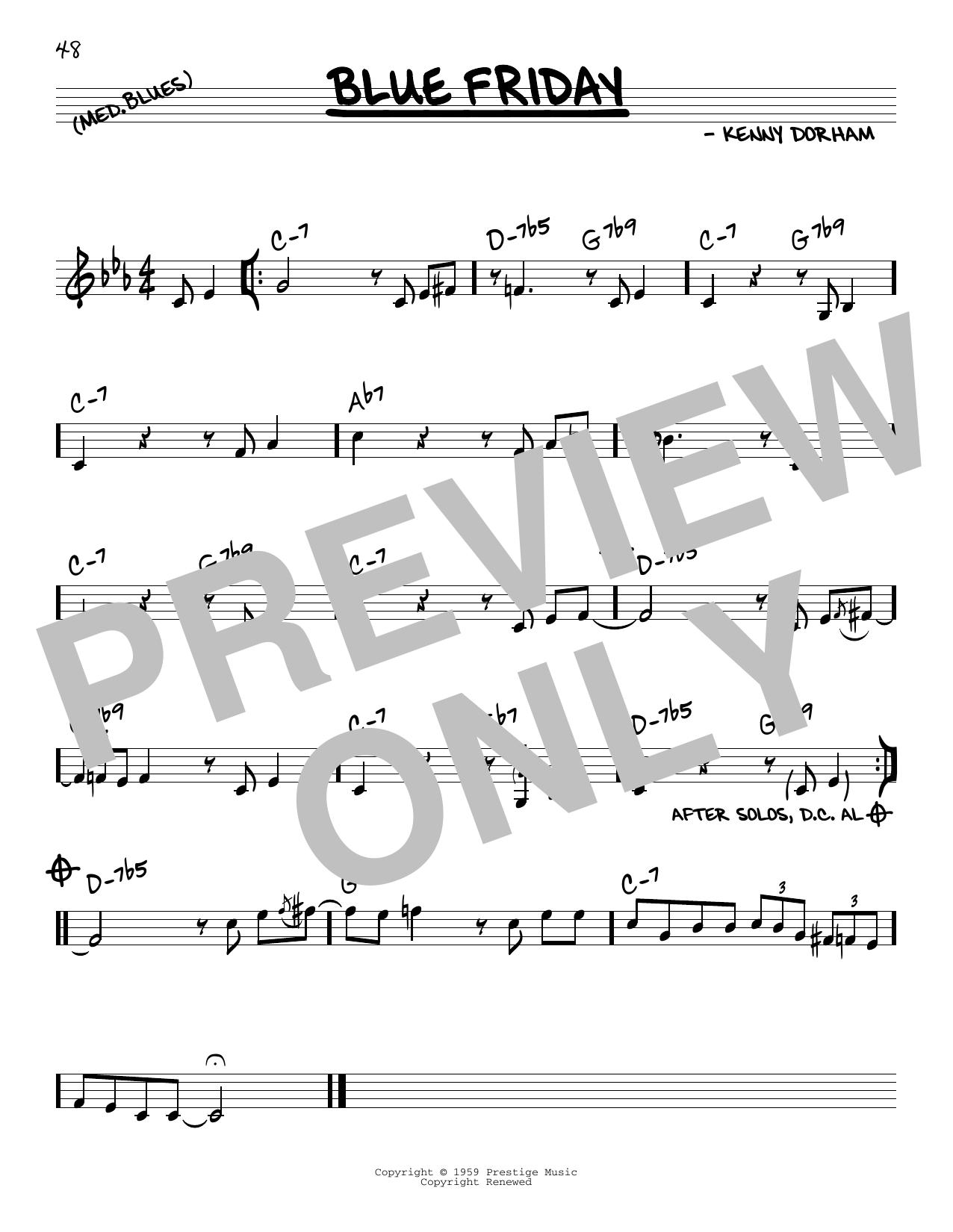 Kenny Dorham Blue Friday sheet music notes and chords. Download Printable PDF.
