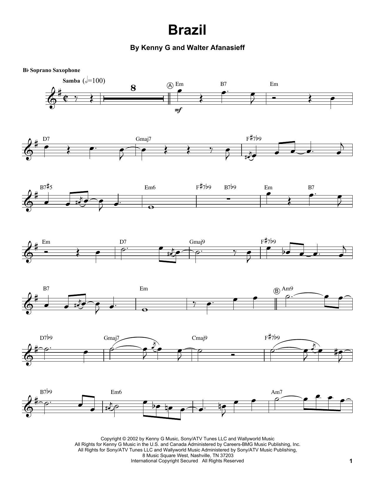Kenny G Brazil sheet music notes and chords