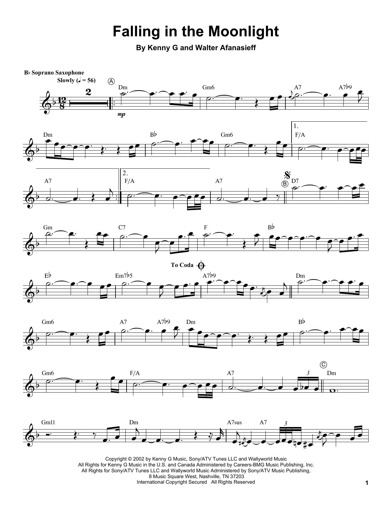 Kenny G Falling In The Moonlight sheet music notes and chords. Download Printable PDF.