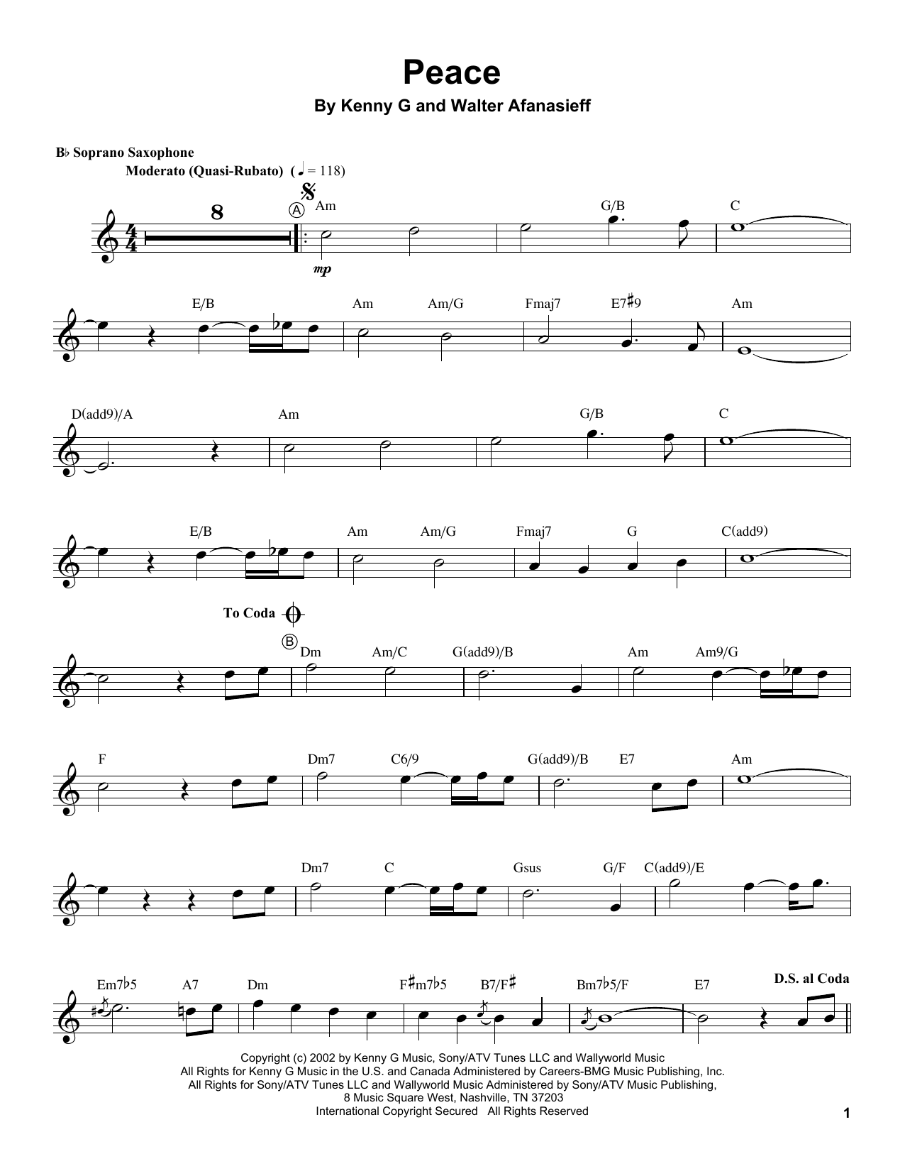 Kenny G Peace sheet music notes and chords. Download Printable PDF.