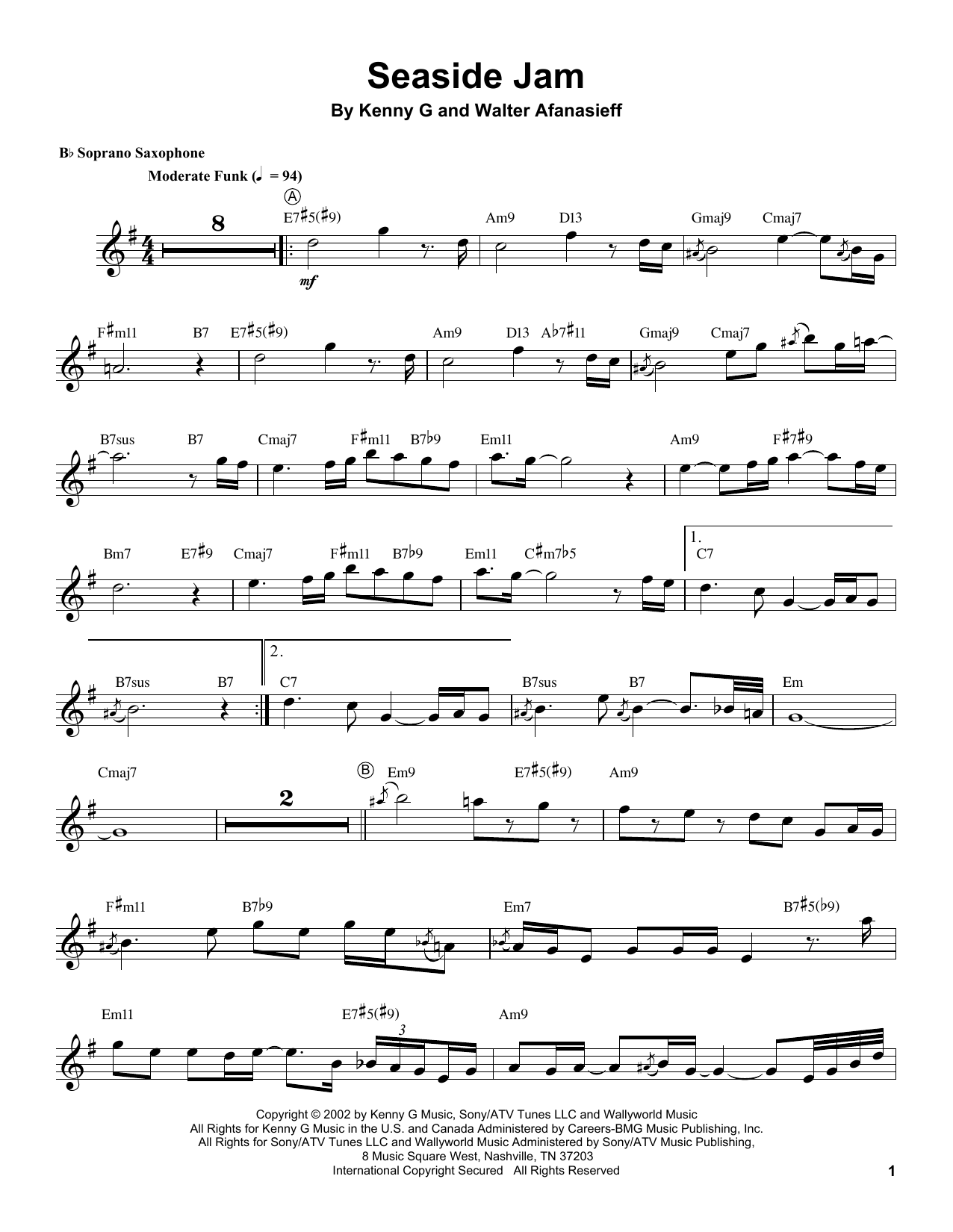Kenny G Seaside Jam sheet music notes and chords