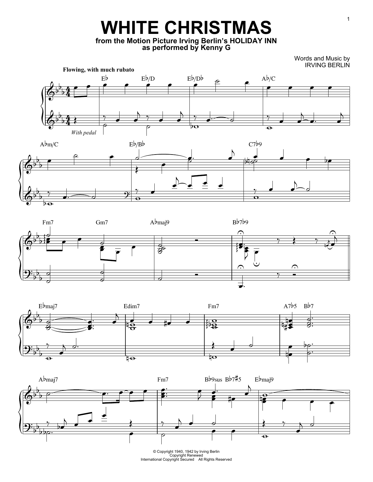 Kenny G White Christmas sheet music notes and chords. Download Printable PDF.