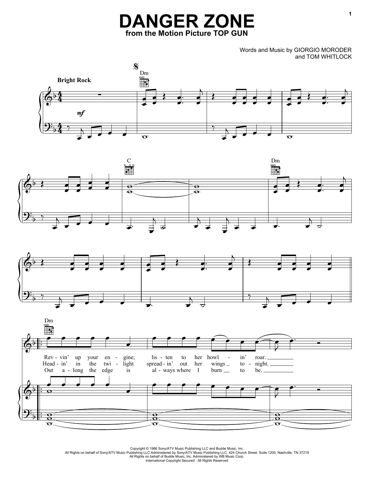 Kenny Loggins Danger Zone sheet music notes and chords. Download Printable PDF.