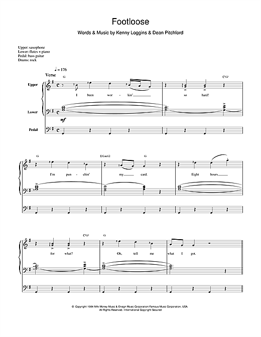 Kenny Loggins Footloose sheet music notes and chords