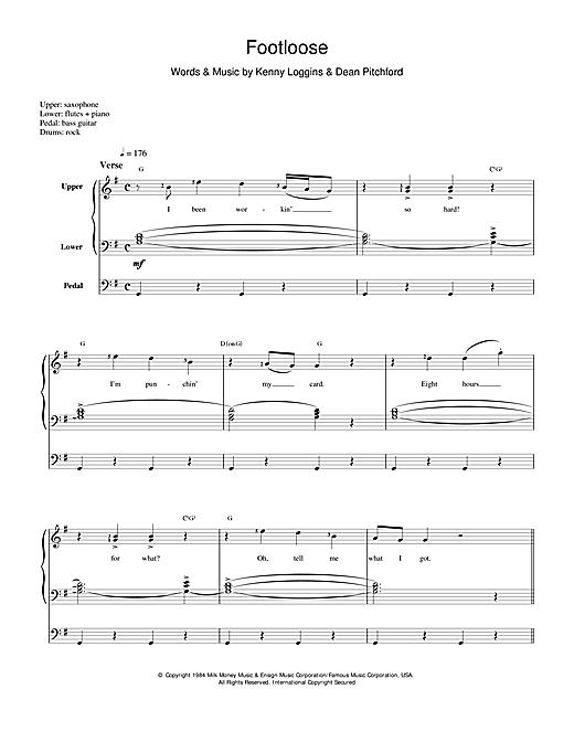Kenny Loggins Footloose sheet music notes and chords. Download Printable PDF.