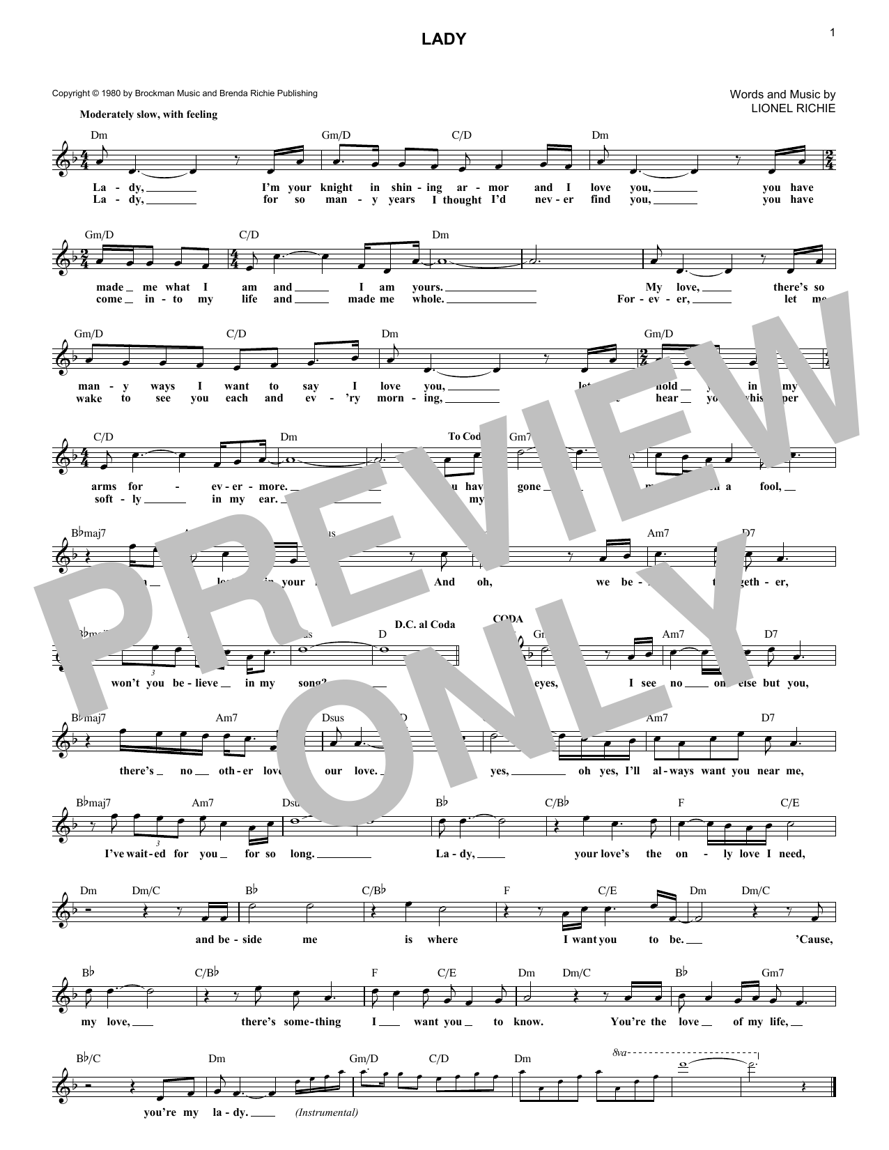 Kenny Rogers Lady sheet music notes and chords. Download Printable PDF.