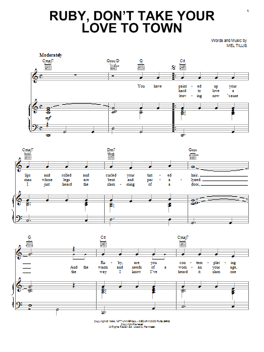 Kenny Rogers Ruby, Don't Take Your Love To Town sheet music notes and chords. Download Printable PDF.