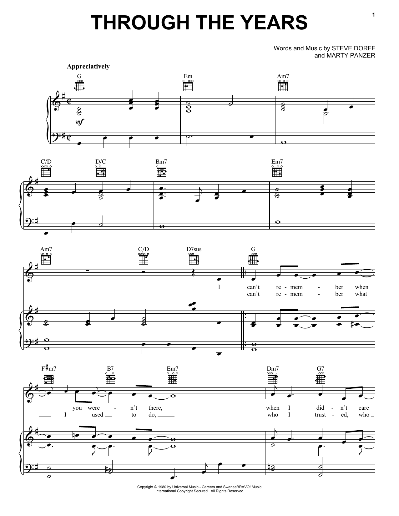 Kenny Rogers Through The Years sheet music notes and chords. Download Printable PDF.