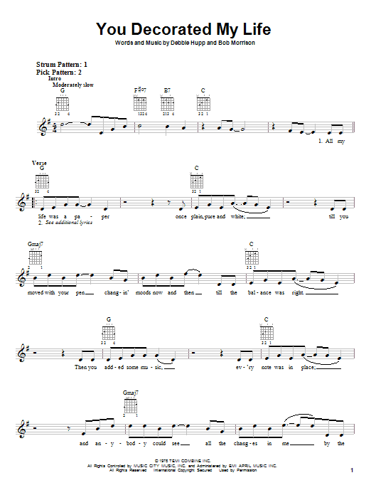 Kenny Rogers You Decorated My Life sheet music notes and chords. Download Printable PDF.