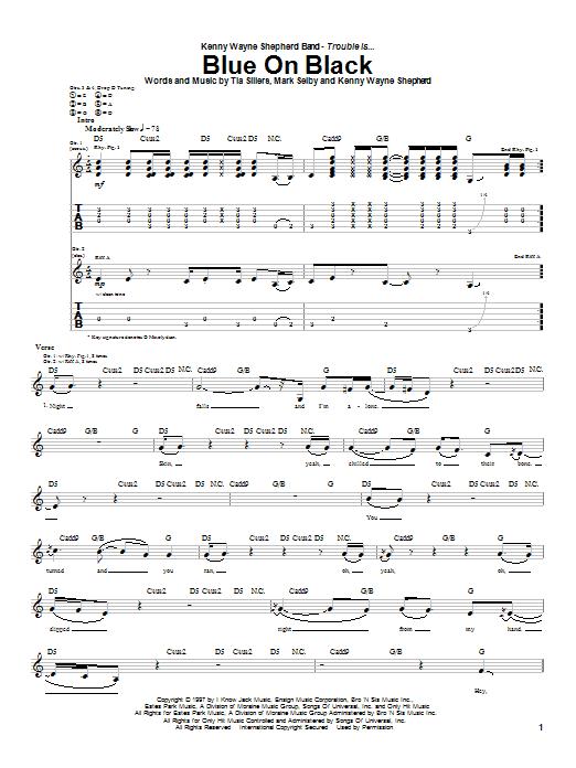 Kenny Wayne Shepherd Blue On Black sheet music notes and chords