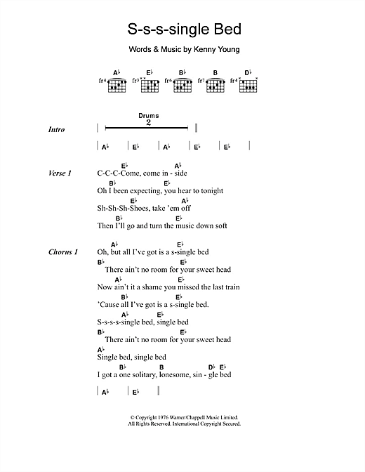 Kenny Young S-s-s-single Bed sheet music notes and chords. Download Printable PDF.