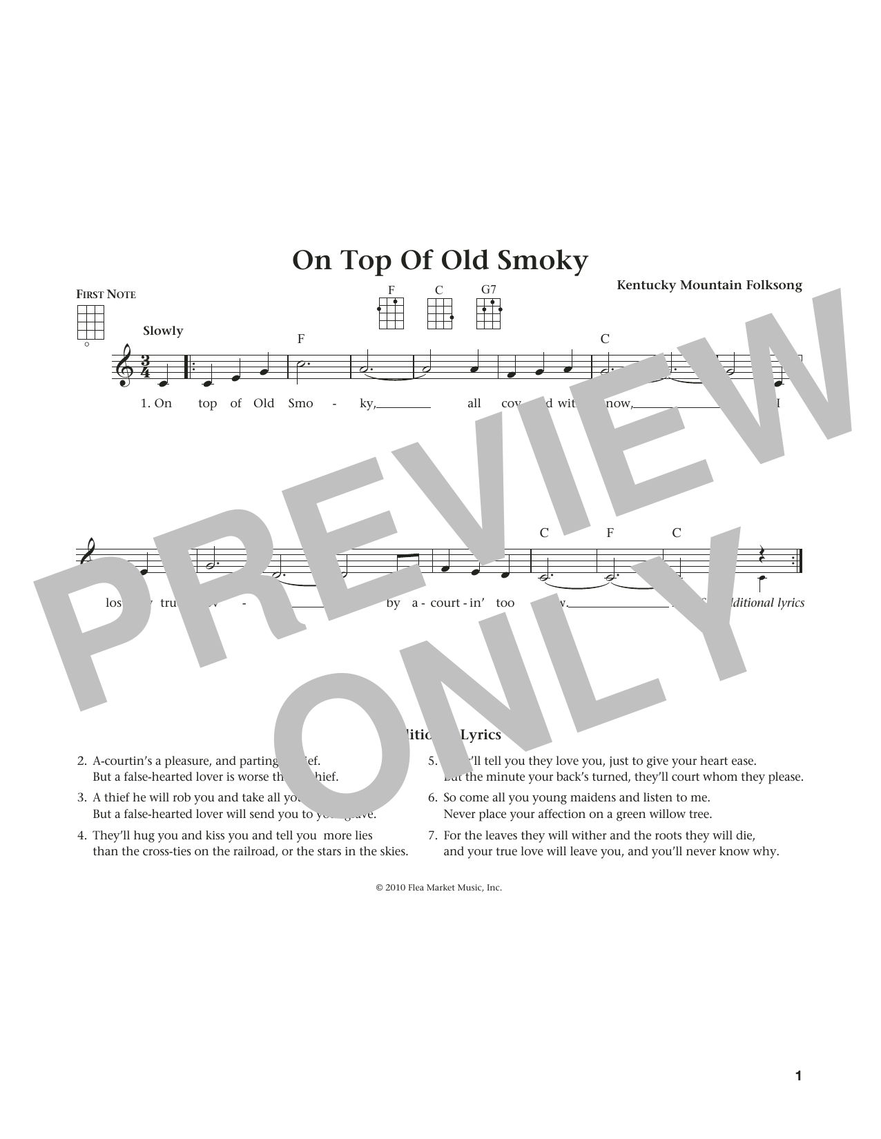 Kentucky Mountain Folksong On Top Of Old Smoky (from The Daily Ukulele) (arr. Liz and Jim Beloff) sheet music notes and chords