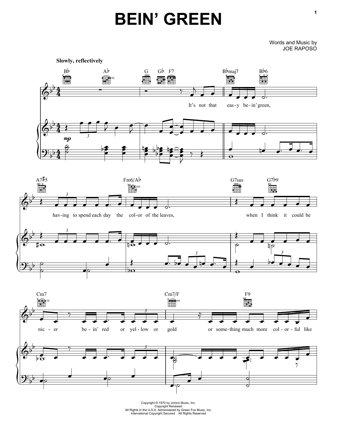 Kermit The Frog Bein' Green sheet music notes and chords