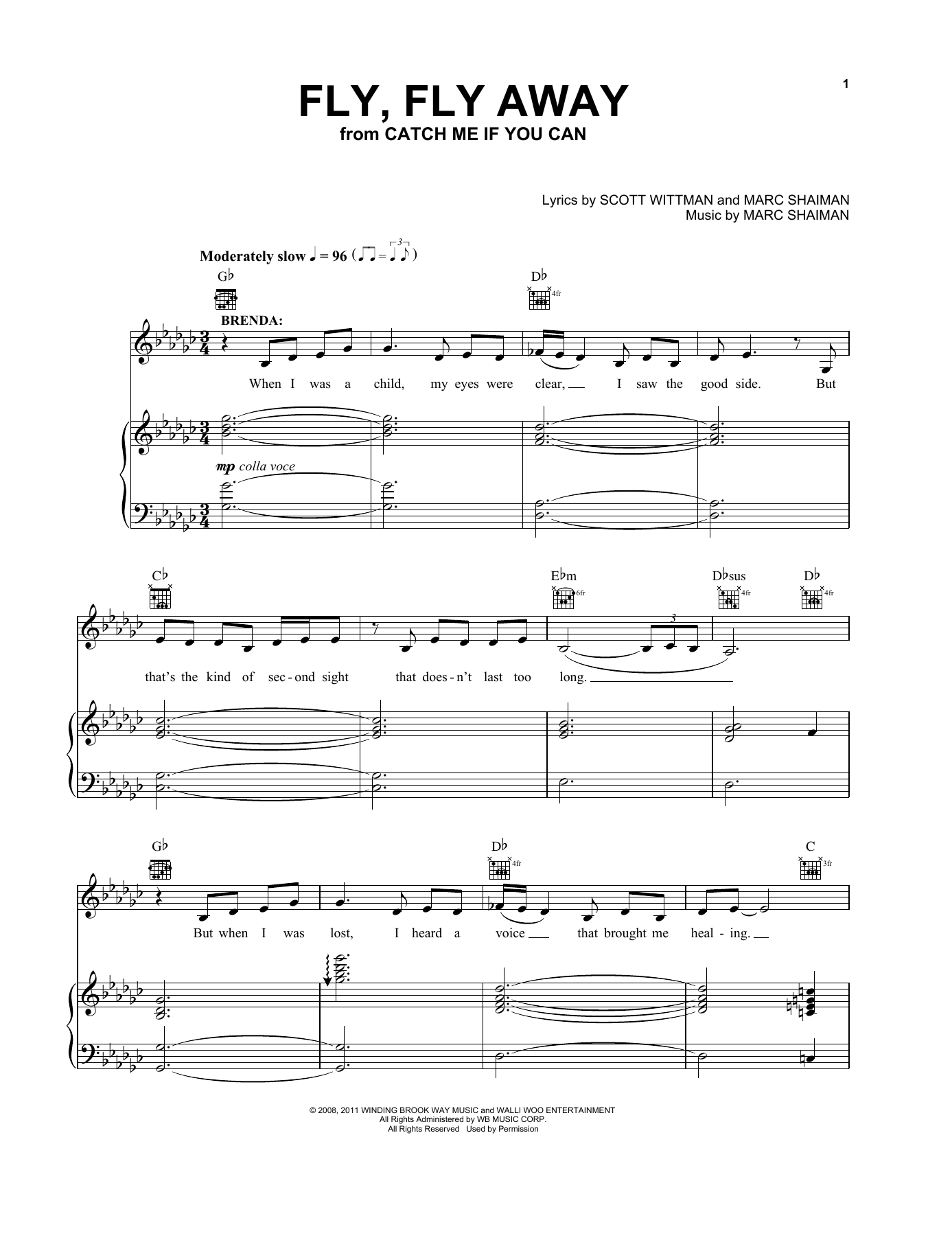 """Kerry Butler """"Fly, Fly Away (from Catch Me If You Can Musical)"""" Sheet Music PDF Notes, Chords ..."""