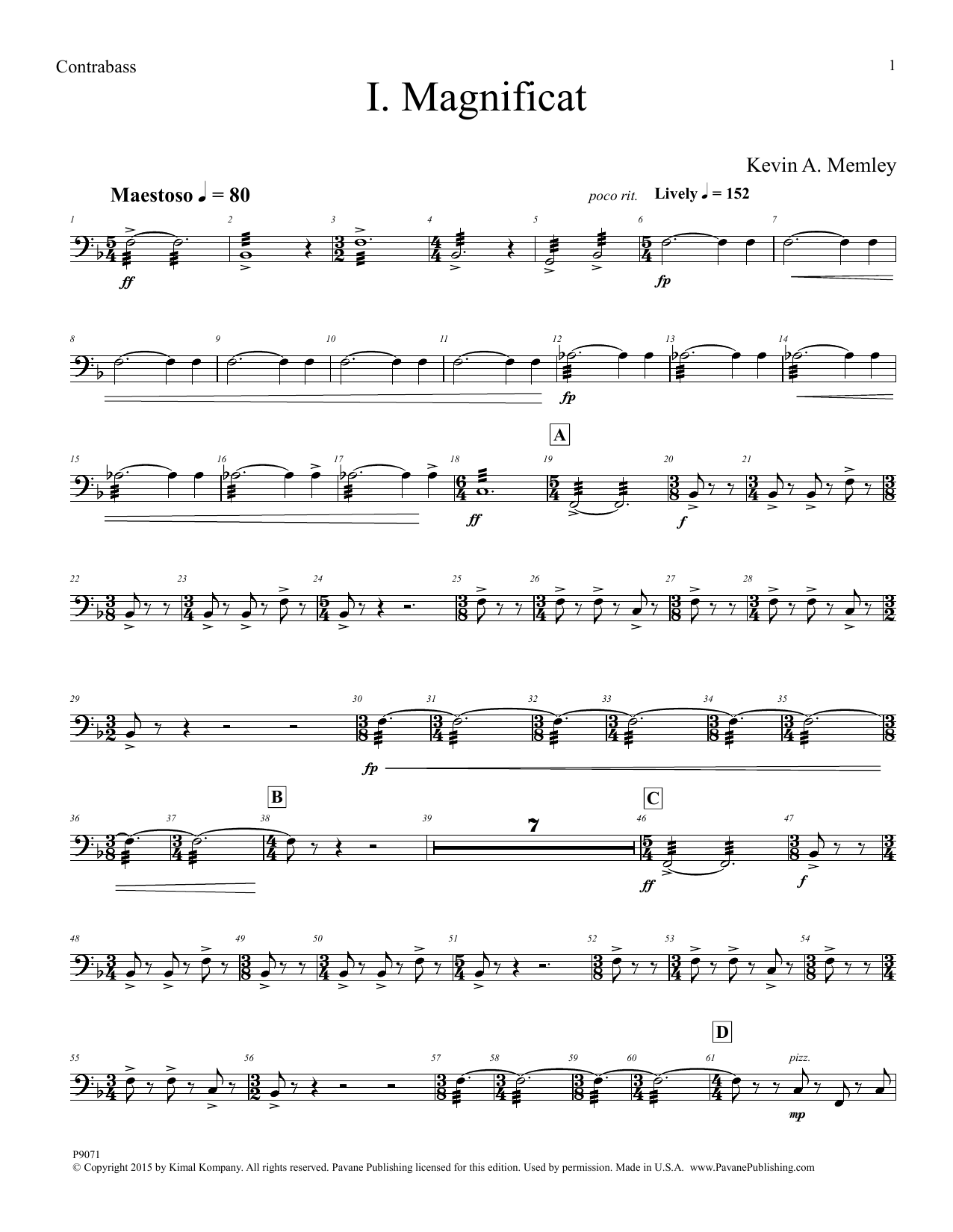 Kevin A. Memley Magnificat - Contrabass sheet music notes and chords. Download Printable PDF.