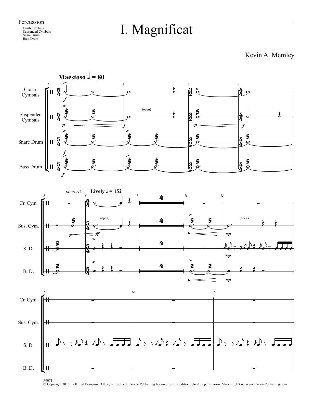 Kevin A. Memley Magnificat - Percussion sheet music notes and chords. Download Printable PDF.