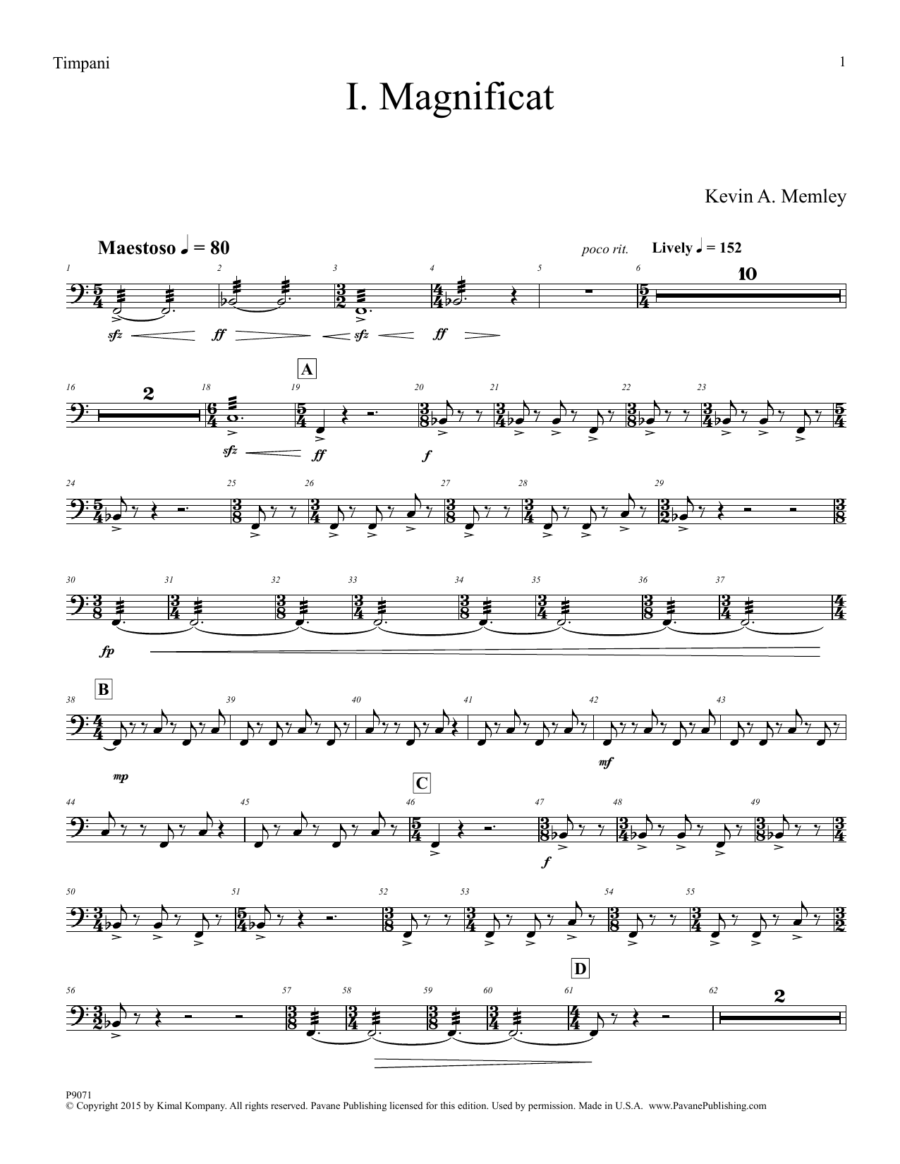 Kevin A. Memley Magnificat - Timpani sheet music notes and chords. Download Printable PDF.