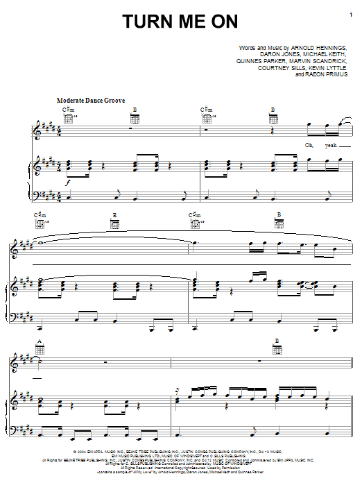 Kevin Lyttle Turn Me On (feat. Spragga Benz) sheet music notes and chords. Download Printable PDF.