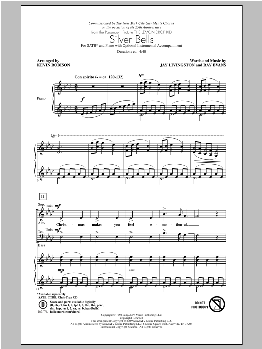 Kevin Robison Silver Bells sheet music notes and chords. Download Printable PDF.