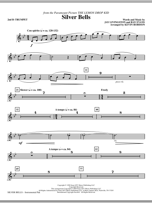 Kevin Robison Silver Bells - Bb Trumpet 2 sheet music notes and chords. Download Printable PDF.