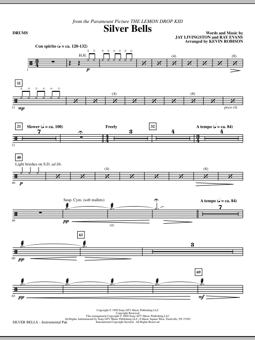Kevin Robison Silver Bells - Drums sheet music notes and chords. Download Printable PDF.