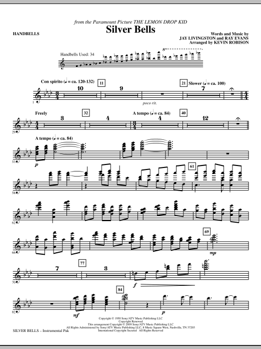 Kevin Robison Silver Bells - Handbells sheet music notes and chords. Download Printable PDF.