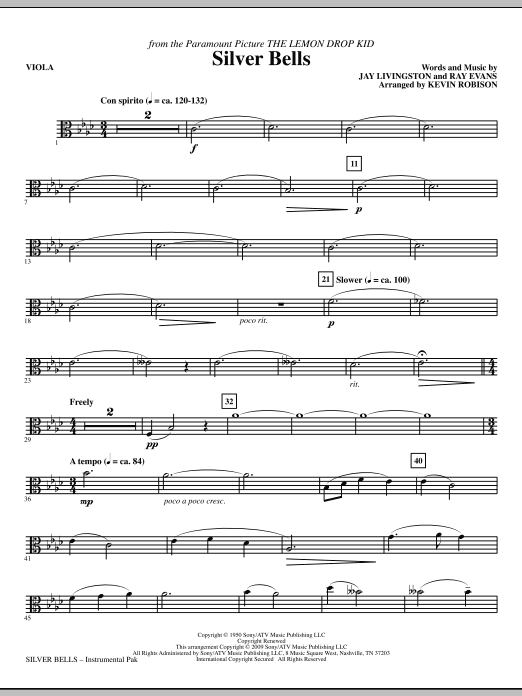 Kevin Robison Silver Bells - Viola sheet music notes and chords. Download Printable PDF.