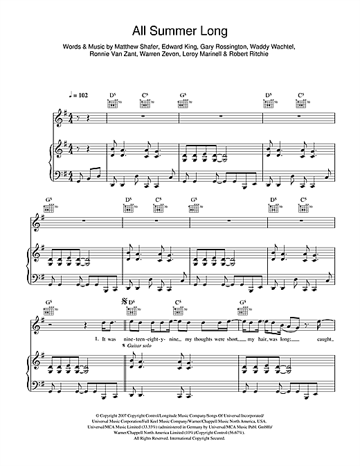 Kid Rock All Summer Long sheet music notes and chords. Download Printable PDF.