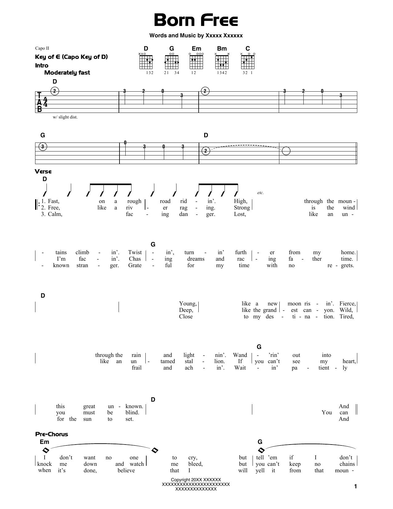 Kid Rock Born Free sheet music notes and chords
