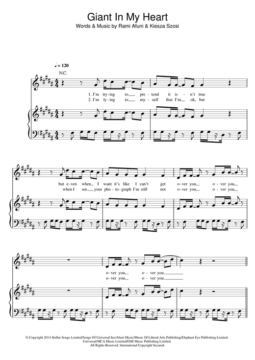 Kiesza Giant In My Heart Sheet Music Notes Chords Download Printable Piano Vocal Guitar Right Hand Melody Sku 119750