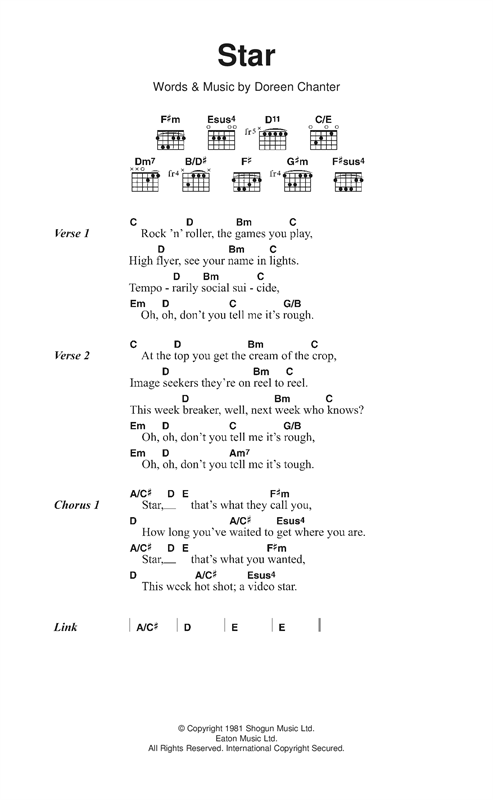 Kiki Dee Star sheet music notes and chords. Download Printable PDF.