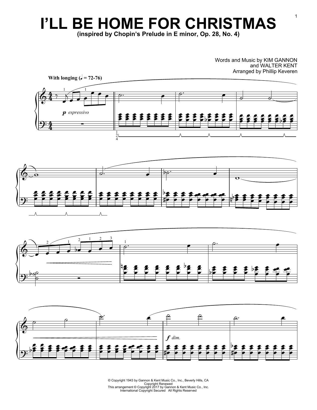 Kim Gannon I'll Be Home For Christmas [Classical version] (arr. Phillip Keveren) sheet music notes and chords. Download Printable PDF.