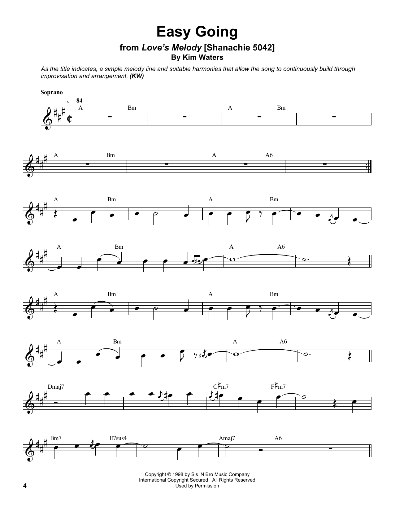 Kim Waters Easy Going sheet music notes and chords