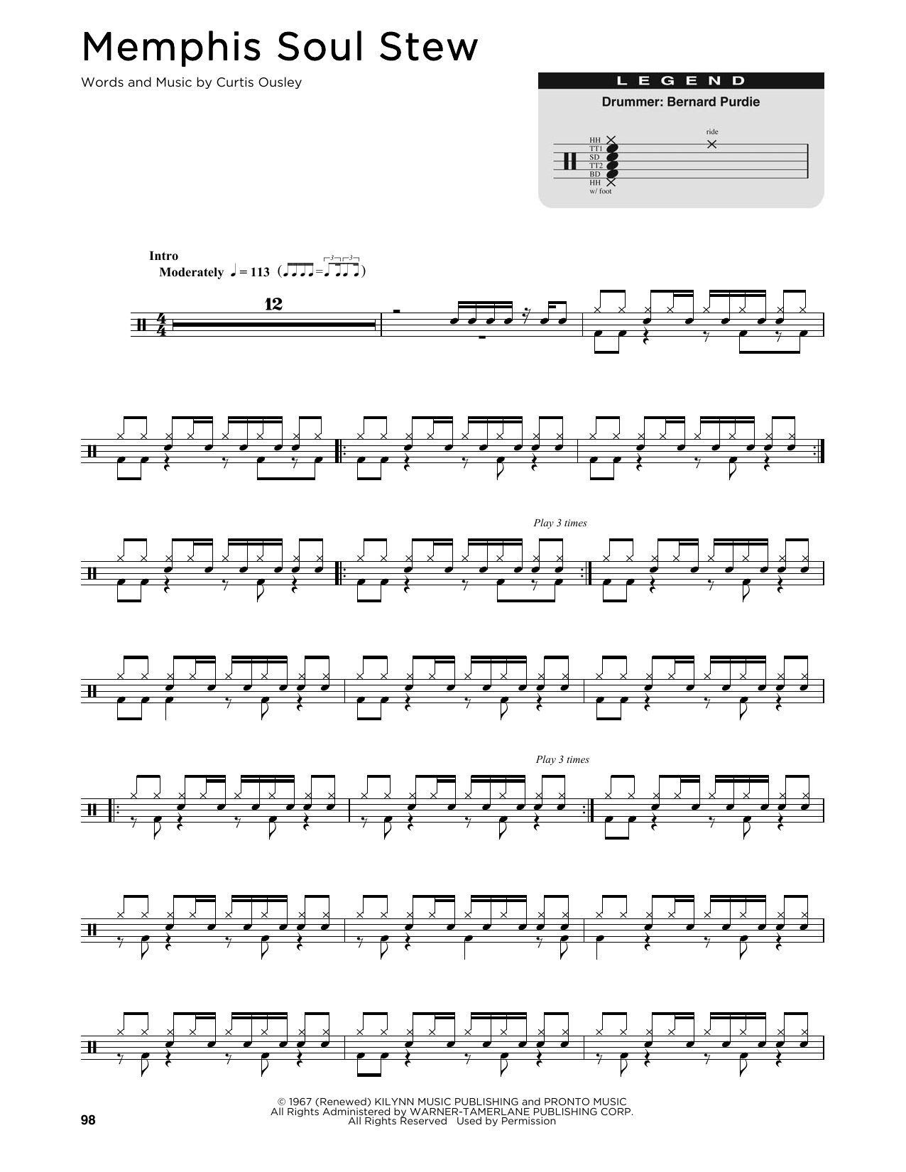 King Curtis Memphis Soul Stew sheet music notes and chords. Download Printable PDF.