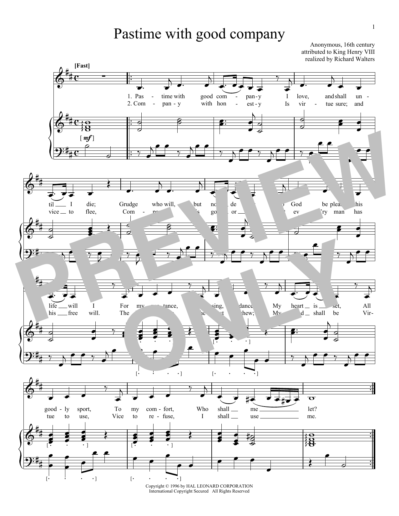 King Henry VIII Pastime With Good Company sheet music notes and chords. Download Printable PDF.