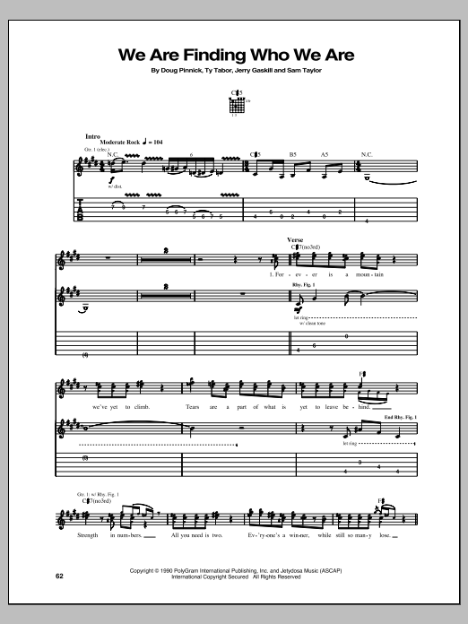 King's X We Are Finding Who We Are sheet music notes and chords. Download Printable PDF.