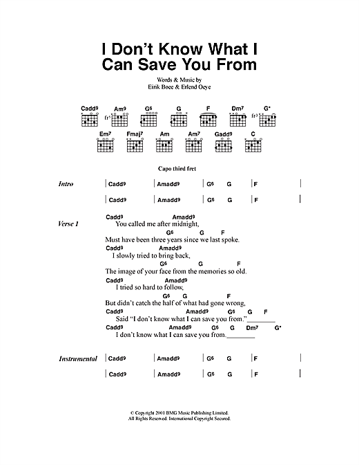 Kings Of Convenience I Don't Know What I Can Save You From sheet music notes and chords. Download Printable PDF.