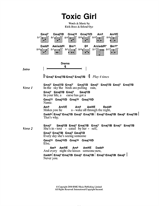 Kings Of Convenience Toxic Girl sheet music notes and chords. Download Printable PDF.