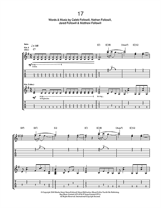 Kings Of Leon 17 sheet music notes and chords. Download Printable PDF.