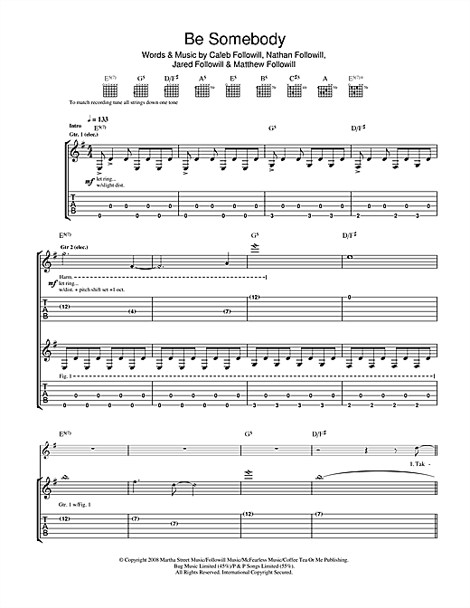 Kings Of Leon Be Somebody sheet music notes and chords. Download Printable PDF.