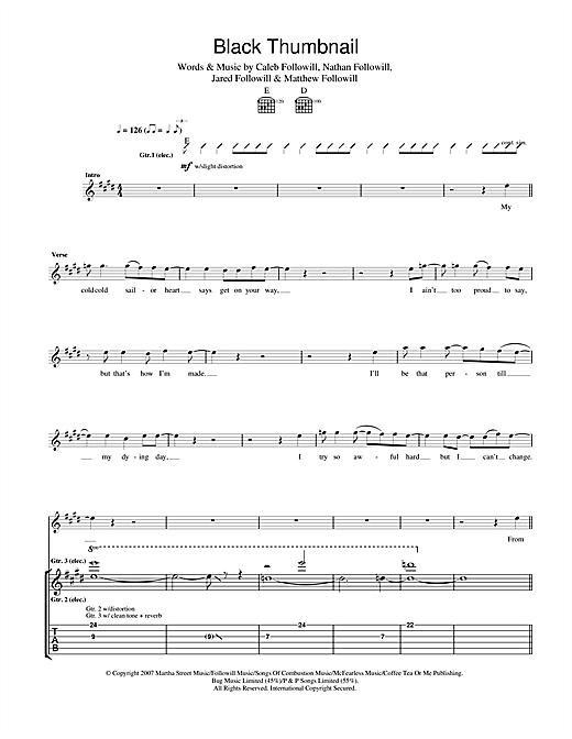 Kings Of Leon Black Thumbnail sheet music notes and chords. Download Printable PDF.